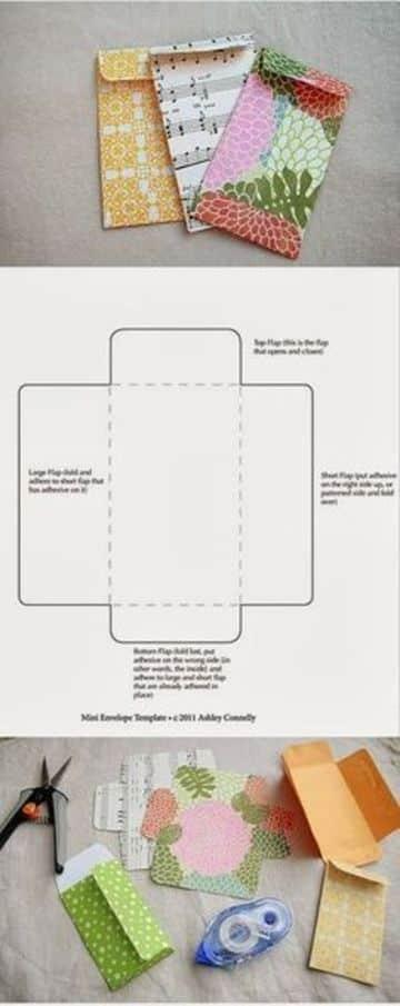 como hacer un sobre de cartulina estampadas