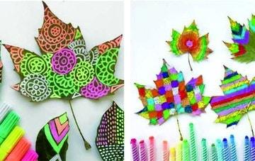 como pintar hojas de arboles con mandalas