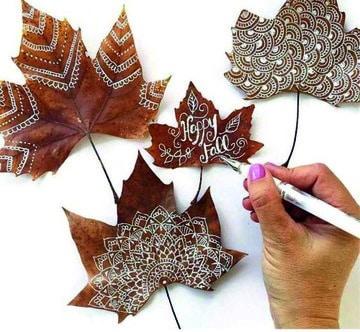 como pintar hojas de arboles con marcador blanco
