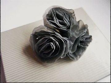 flores con bolsas de plastico negras