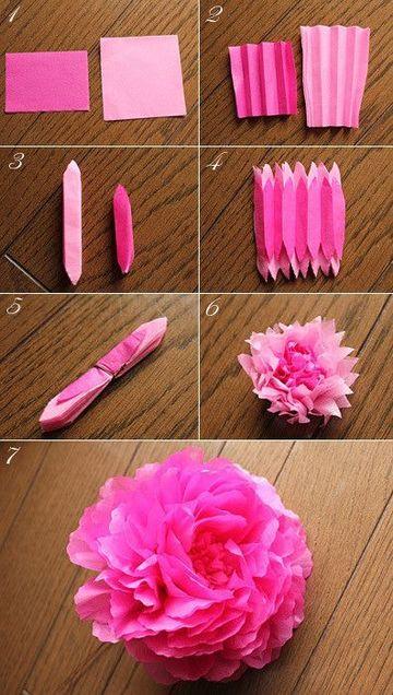 flores de papel seda grandes faciles de hacer