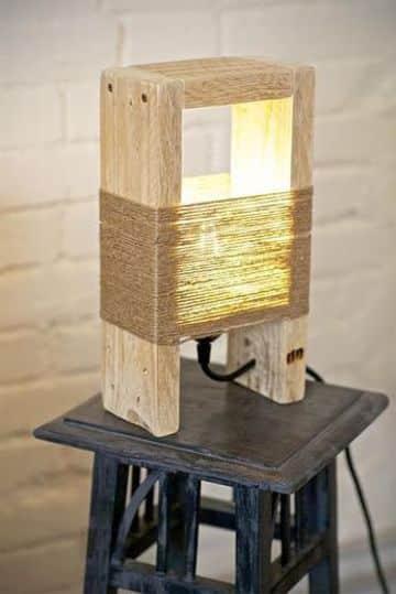 lamparas de mesa recicladas con madera