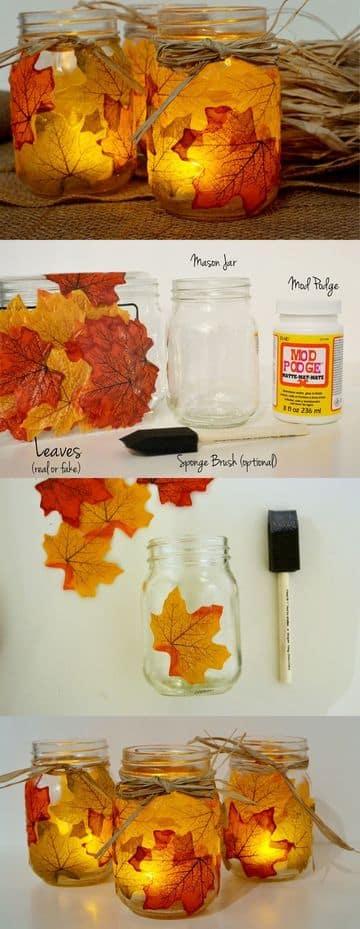 manualidades con hojas de arboles, frasco y vela