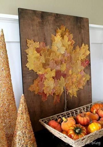manualidades con hojas de arboles para cuadros