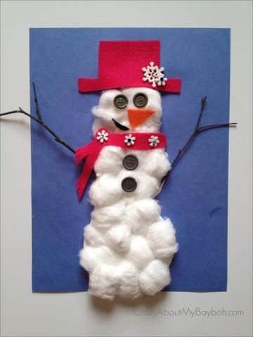 muñeco de nieve con algodon para decorar