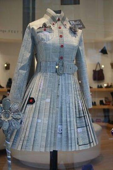 vestidos hechos con periodico con cinturon