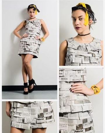 vestidos hechos con periodico sin mangas