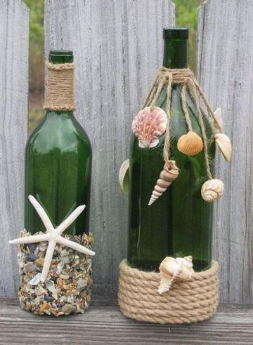 como hacer floreros con botellas y caracoles
