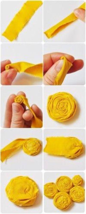 como se hacen flores de tela pequeñas