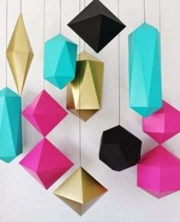 figuras geometricas de papel colgantes