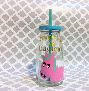 frascos decorados de unicornio bebe