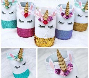 frascos decorados de unicornio para fiestas