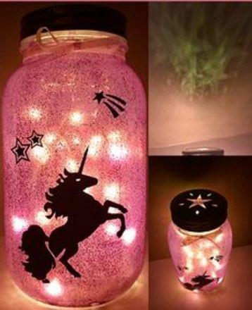 frascos decorados de unicornio para lamparas
