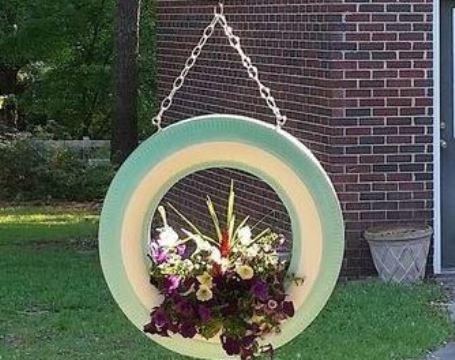 llantas decoradas para jardin colgantes
