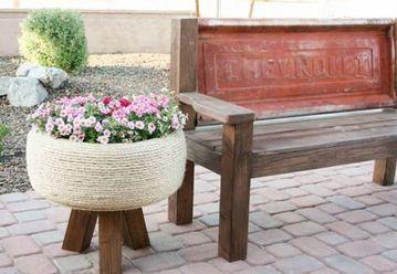 llantas decoradas para jardin forradas con mecatillo