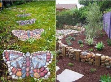 piedras para decorar jardines haciendo figuras