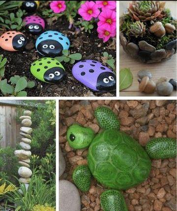 piedras para decorar jardines pintadas