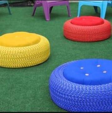 sillones de llantas recicladas para niños