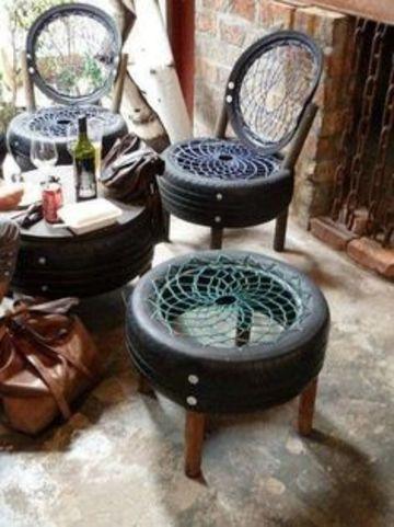 sillones de llantas recicladas y tejidos