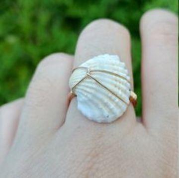 anillos con conchas de mar facil de hacer