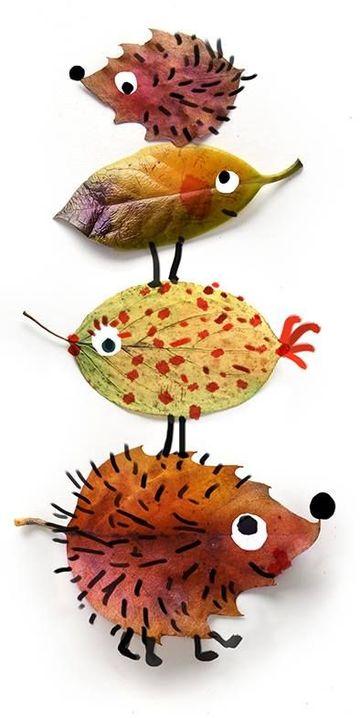 animales hechos con hojas secas divertidos