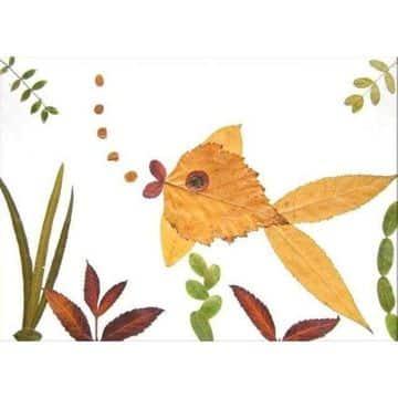 animales hechos con hojas secas para decorar
