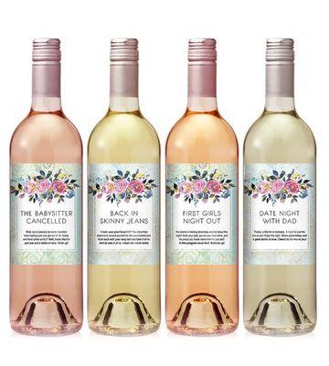 arreglos con botellas de vino con etiquetas originales