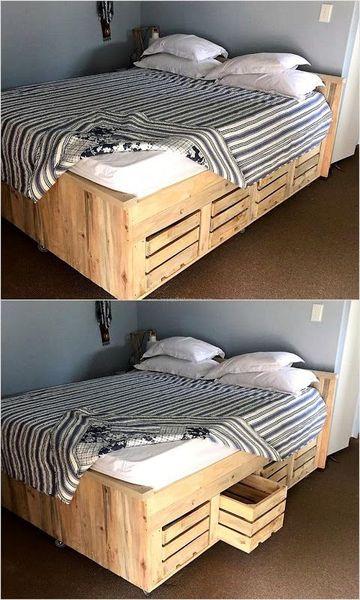 camas con tarimas de madera con organizadores
