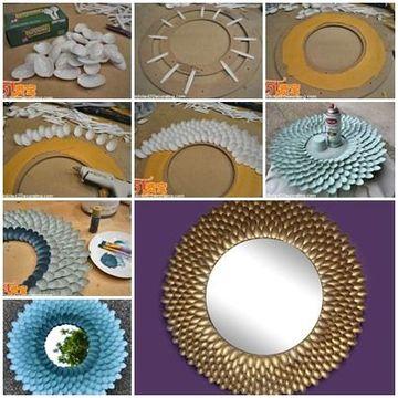 Creativos Espejos Con Cucharas De Plastico Para Decorar