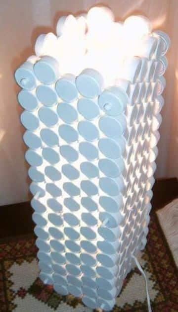 manualidades con tapas de plastico para el hogar