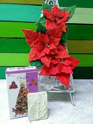 moldes de flores de fomi navideños