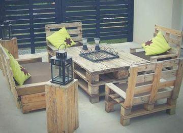 muebles de tarimas recicladas para jardin