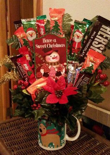 tazas decoradas con dulces para navidad