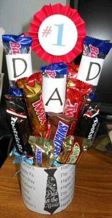 tazas decoradas con dulces para papi
