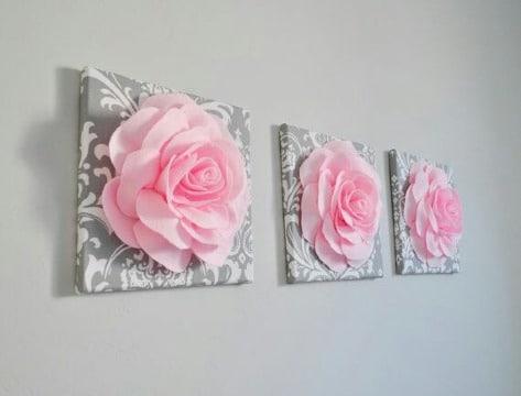adornos con flores de papel faciles
