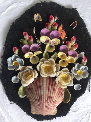 artesanias con conchas marinas de flores