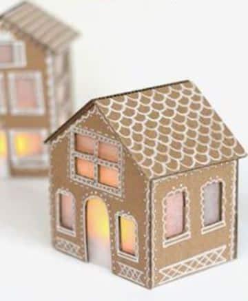 casitas navideñas de carton con luz
