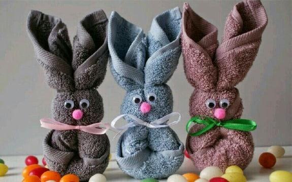 como hacer conejos con toallas para baby shower