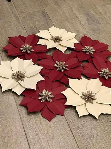como hacer flores de navidad en papel