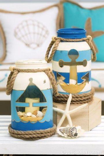 envases de vidrio decorados con motivo marino