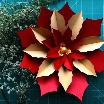flores de navidad en papel cartulina