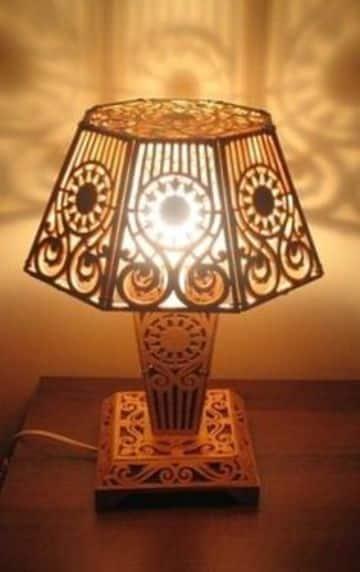 lamparas de madera para buro cortada a laser