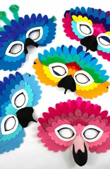 moldes de mascaras de aves para niños