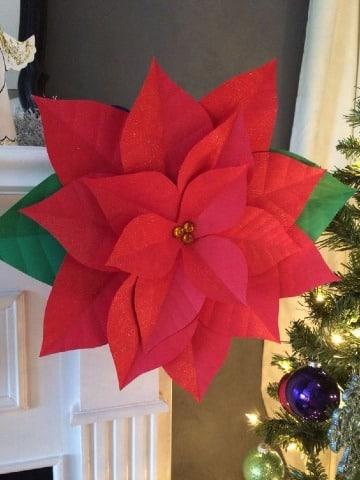 sencillas flores de navidad en papel