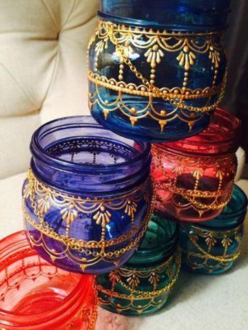 tarros de cristal decorados con bordado liquido