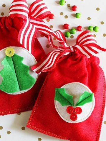 como hacer bolsitas de dulces navideñas
