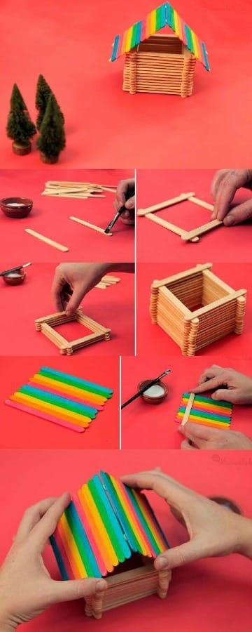 como hacer casitas con palitos de chupete
