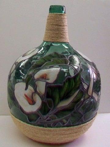 fotos de jarrones de vidrio decorados