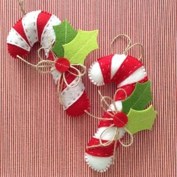 imagenes de bastones navideños de fieltro