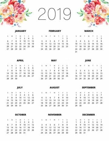 calendarios para imprimir gratis 2019